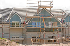Nuove case a terrazze in costruzione. Immagine Stock Libera da Diritti