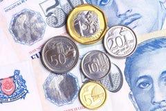 Nuove monete di Singapore Fotografie Stock Libere da Diritti