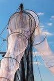 Nuove reti da pesca inutilizzate in Olanda Immagine Stock