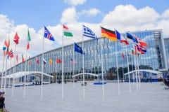 NUOVE sedi di NATO che costruiscono a Bruxelles, Belgio immagine stock