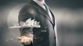 Nuove tecnologie disponibile del punto di riferimento di Sydney Opera House Businessman Holding Immagine Stock