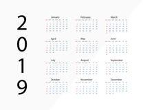 2019 nuovi anni Anno del calendario del 2019 Calendario del modello 2019 anni gennaio febbraio procedere aprile possa giugno lugl illustrazione di stock