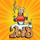 2018 nuovi anni, cane della terra di giallo del vestito di pinguino illustrazione vettoriale