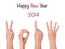 2013 nuovi anni che mostrano mano Fotografie Stock Libere da Diritti