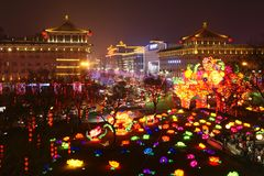 2019 nuovi anni cinesi in Xian fotografia stock libera da diritti