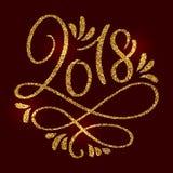 2018 nuovi anni Composizione dorata nell'iscrizione brillante sul fondo del chiaretto Vettore disegnato a mano di calligrafia di  Immagini Stock Libere da Diritti
