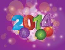 2014 nuovi anni con i fiocchi di neve e gli ornamenti Fotografie Stock Libere da Diritti