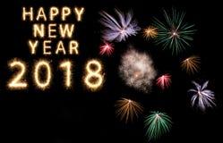 nuovi anni d'ardore intelligenti 2018 della stella filante del fuoco d'artificio Immagini Stock