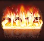 2015 nuovi anni del fkame del fuoco Immagini Stock Libere da Diritti