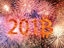 2018 nuovi anni di Bitcoin Fotografia Stock Libera da Diritti