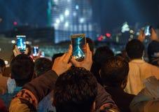 Nuovi anni di celebrazione nel Dubai fotografia stock