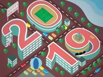 2019 nuovi anni di costruzione piana di progettazione illustrazione vettoriale