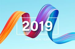 2019 nuovi anni di elemento di progettazione del petrolio variopinto di pennellata o della pittura acrilica Illustrazione di vett Illustrazione di Stock