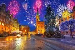 Nuovi anni di esposizione del fuoco d'artificio a Danzica Fotografie Stock
