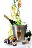 Nuovi anni di Eve con Champagne Fotografia Stock
