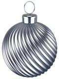 Nuovi anni di EVE della bagattella di Natale della palla dell'argento di decorazione del cromo Fotografia Stock