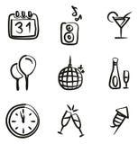 Nuovi anni di Eve Icons Freehand Immagini Stock