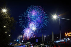 Nuovi anni di fuochi d'artificio Immagine Stock Libera da Diritti