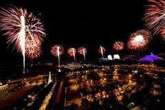 Nuovi anni di fuochi d'artificio di vigilia Fotografia Stock Libera da Diritti