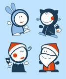 Nuovi anni di icone divertenti della gente. royalty illustrazione gratis