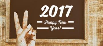 2017 nuovi anni di messaggio con gesturing della mano Fotografia Stock Libera da Diritti