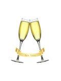 Nuovi anni di vetro di Champagne Fotografie Stock