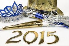 2015 nuovi anni di vigilia di rifornimenti del partito su un fondo bianco Fotografia Stock