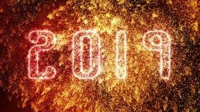 Nuovi anni dorati scintillare 2019 esplosioni dei fuochi d'artificio e di Eve Celebration royalty illustrazione gratis