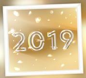 2019 nuovi anni dorato e d'argento o fondo astratto royalty illustrazione gratis