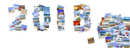 2018 nuovi anni Due mila diciotto I numeri sono fatti dei paesaggi della costa di mar Mediterraneo Fotografia Stock Libera da Diritti