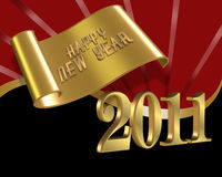 Nuovi anni felici di nero rosso di vigilia 2011 Fotografie Stock