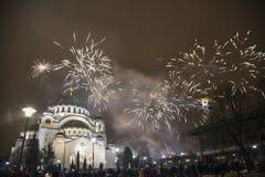 Nuovi anni ortodossi di celebrazione di vigilia Immagine Stock Libera da Diritti
