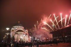 Nuovi anni ortodossi di celebrazione di vigilia Immagini Stock Libere da Diritti
