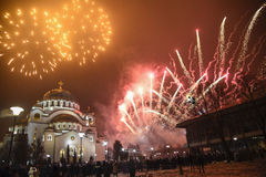 Nuovi anni ortodossi di celebrazione di vigilia Fotografia Stock