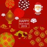 2019 nuovi anni, Santa Claus, anno del verro illustrazione di stock