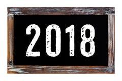 2018 nuovi anni sul bordo di gesso d'annata isolato su backgroun bianco Immagine Stock Libera da Diritti