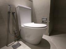 Nuovi ciotola, rubinetto e fermacarte ceramici di toilette Ciotola di toilette in bagno moderno interno con le pareti grige ed il fotografia stock libera da diritti