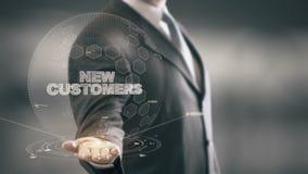 Nuovi clienti con il concetto dell'uomo d'affari dell'ologramma illustrazione di stock