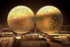 Nuovi contanti di Bitcoin che si scontrano con Bitcoin classico dopo la spaccatura Fotografia Stock