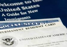 Nuovi documenti residenti degli Stati Uniti Fotografia Stock Libera da Diritti