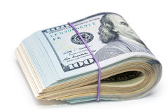Nuovi 100 dollari dalla fine su Immagini Stock Libere da Diritti