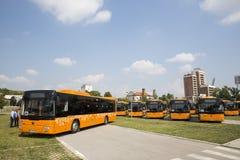 Nuovi driver di bus del trasporto pubblico Fotografie Stock