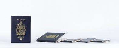Nuovi e passaporti usati vicino su panorama Immagine Stock