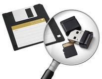 Nuovi e vecchi supporti di dati fotografie stock
