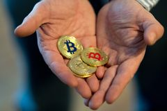 Nuovi fondi virtuali dorati Bitcoins Fotografia Stock