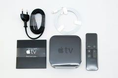 Nuovi media di TV di Apple che scorrono il microconsole del giocatore Fotografia Stock