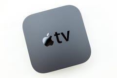 Nuovi media di TV di Apple che scorrono il microconsole del giocatore Fotografie Stock Libere da Diritti