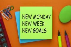 Nuovi scopi di nuova settimana di lunedì nuova fotografia stock