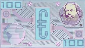 Nuovi soldi; Euro fattura di Digital Serie blu fotografia stock libera da diritti