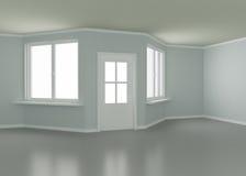 Nuovi stanza, portello e finestre, illustrazione 3d Fotografia Stock